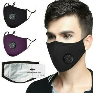 Cotton Face Mask Washable Reusable Breathable Fabric with Valve & PM2.5 Filter