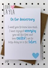 Greetings Card/Birthday Card/Anniversary/Comedy/Love Layla Aust/Funny/Humour/L97