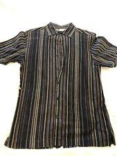 Bachrach Men's Brown Striped Short Sleeve Button Down Dress Shirt Sz Medium