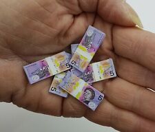 Doll House Accessories 1:12th Miniature - 2 Sheets of  $5 Banknotes
