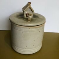 Vintage pottery canister jar with top House cottage knob signed studio crafted