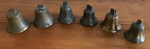 6 EARLY ANTIQUE BRONZE AND BRASS BELLS