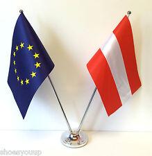 European Union EU & Austria Flags Chrome and Satin Table Desk Flag Set