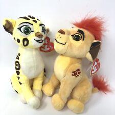"Set Of 2 Ty Sparkle Kion & Fuli The Lion Guard Plush From The Lion King 6"""