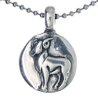 Zodiac sign Aries Ram Amulet Charm Medallion Silver pewter pendant necklace