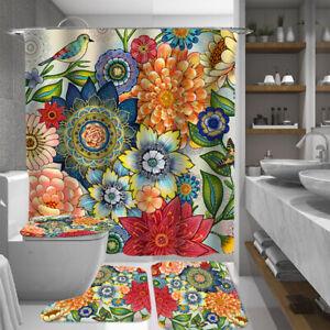 Floral Shower Curtain Bathroom Rug Set Bath Mat Soft Non-Slip Toilet Lid Cover