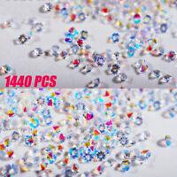 1440Pcs Crystal AB Rhinestones Glass Diamond Gems 3D for Nail Art Phone Decor