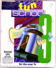 Fun School 3 - Over 7's (Database 1990) Amstrad DISK - Large Box c/w pin badge