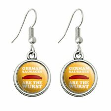 Humor Novelty Dangling Drop Charm Earrings German Sausages are the Wurst Funny