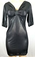 WOMEN'S BLACK BANDAGE BODYCON MINI COCKTAIL SHIMMER DRESS SIZE SMALL
