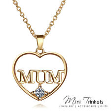 Gold Plated Mum Necklace With Cubic Zirconia Crystal Gift Present Mother's Day