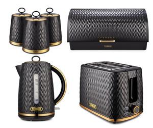 Empire Jug Kettle 2-Slice Toaster Canisters & Bread Bin Set ART DECO Black/Brass