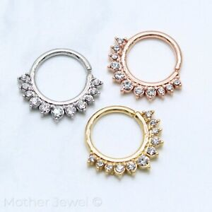 SIMULATED DIAMOND SILVER 14K YELLOW ROSE GOLD IP SEPTUM CARTILAGE HOOP RING
