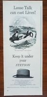 1943 Stetson Three Way Hat WW2 Men Raft Fashion Art Vintage Print Ad Retro Decor