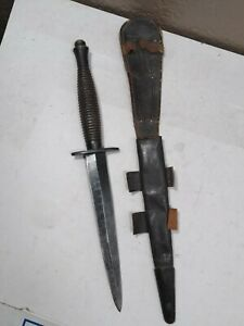 Fairbairn Sykes British Commando Black Dagger with Sheath. Sheffield, England