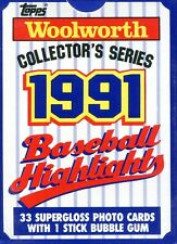 (1) 1991 Woolworth's Topps Baseball Highlights Complete Factory Set ~ 33 Cards