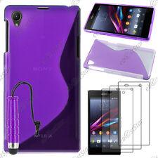 Coque SiliconeS-line Violet Sony Xperia Z1 L39H+Mini Stylet+3 Film écran
