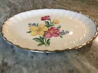 Golden Floral by Nasco China OVAL SERVING PLATTER, 22 Kt. Gold, USA