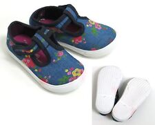YOUNG GIRLS COTTON BLUE DENIM FLORAL CASUAL SHOES UK SIZE 5 / 15-18 MONTHS