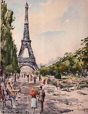 Lithographie French Lithography Vue de Paris Tour Eiffel Aquarelle Gouache