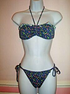 SoulCal Blue Halterneck Padded Cup Bikini Set Size S Strapless Bandeau