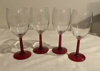 Vintage Set of 4 Wine Water Glasses Goblets Long Red Stem & Clear Glass  7 1/4""