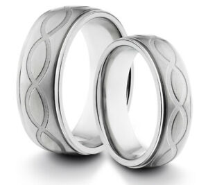 HIS & HERS 8MM/6MM Titanium Infinity Loop Comfort Fit Wedding Band TWO RING SET