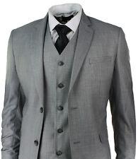 "Mens Slim Fit Suit Light Grey Stitch Trim 3 Piece Work Office or Wedding Party (36uk 46eu) 30"" Waist Trouser"
