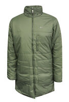 Nike Womens Mid Length Zip Up Coat Funnel Neck Khaki Jacket 261421 302 OPPM1
