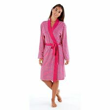 Womens Selena Secrets Soft Jersey Dressing Gown Wrap Striped 16-18 Pink