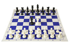"TRIPLE WEIGHT CHESS PIECES & BLUE BOARD. Tournament Set. King 3¾"" Bonus Queens!"