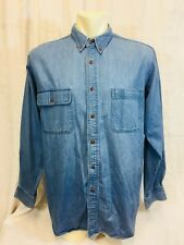 Vintage 1990's Denim Mens Shirt. Large. Long Sleeved Button Front. Very Good.