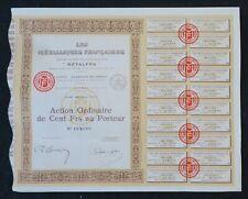 Action 1930 LES METALLIQUES FRANCAISES METALFRA  titre bond share 3