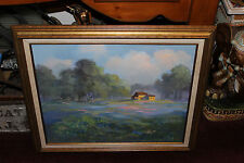 Stunning Vera Whiteside Signed Oil Painting-Country Cottage Meadow Trees Sky
