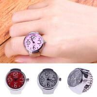 Fine Creative  Lady Girl Steel Round Elastic Quartz Finger Ring Watch DH *