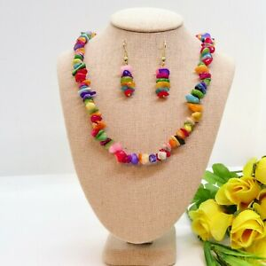 HANDMADE MULTI COLOR NECKLACE ,BRACELET AND EARRING, JEWELRY SET