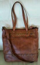NWT~PATRICIA NASH Perugia~Leather w/STUDS~Shoulderbag/Tote~TAN/Cognac/Brown-LG
