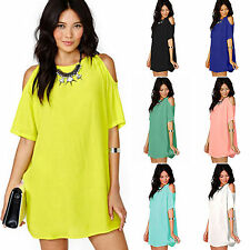 Women's Dresses Plus Size Chiffon Baggy T-Shirt Blouses Cold Shoulder Long Tops