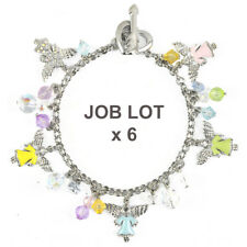 Job Lot 6 x Guardian Angels Pastel Enamel Crystal Beaded Charm Bracelet BOXED