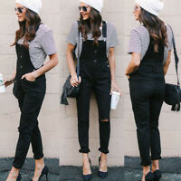 Women Denim Jeans Rompers Pants Overalls Straps Jumpsuit Rompers Black Trousers