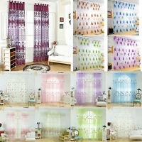 Floral Tulle Voile Door Window Curtain Drape Panel Sheer Scarf Valances Decor