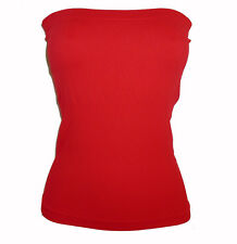 NEW RED TUBE TOP LONG STRETCH STRAPLESS SEAMLESS S M L
