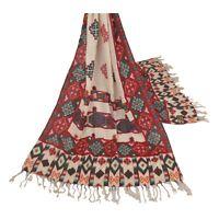 Sanskriti Vintage Dupatta Long Stole Pure Woolen Cream Shawl Printed Scarves