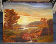 AUTUMN SEASON LANDSCAPE TREES HILLS VALLEY COWS WOOD FOOT BRIDGE STREAM PAINTING