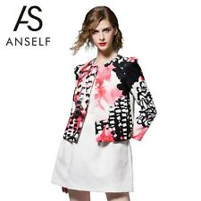 Polyester Floral Plus Size Button Coats & Jackets for Women