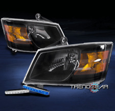 2008-2010 DODGE GRAND CARAVAN REPLACEMENT BLACK HEADLIGHTS LAMPS W/BLUE DRL LED
