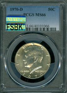 1970-D KENNEDY HALF DOLLAR PCGS MS-66 PQ MAC FSBK MAC SPOTLESS RARE *