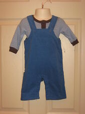 Cherokee Baby Romper Overalls + Bodysuit Outfit Set Blue Brown 3 Months NEW