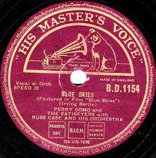 """Clásico 1946 Perry como 78 """"cielos azules/si soy afortunado"""" Reino Unido HMV bd 1154 E"""