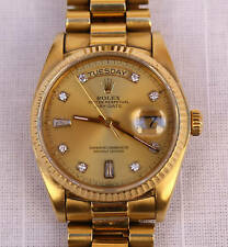 MAGNIFICENT AUTOMATIC  ROLEX 18K  GOLD  DIAMOND PRESIDENT MENS WATCH  WITH  BOX